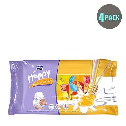 Bella Baby Happy 64PC Wet Wipes with Milk & Honey - 4pk