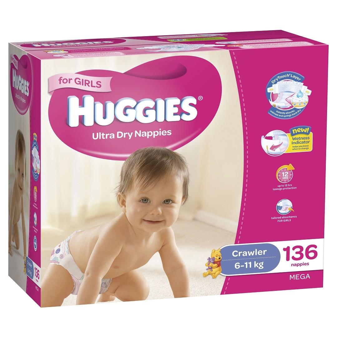 HUGGIES® Nappies Crawler 6-11kg Girl 136pk MEGA
