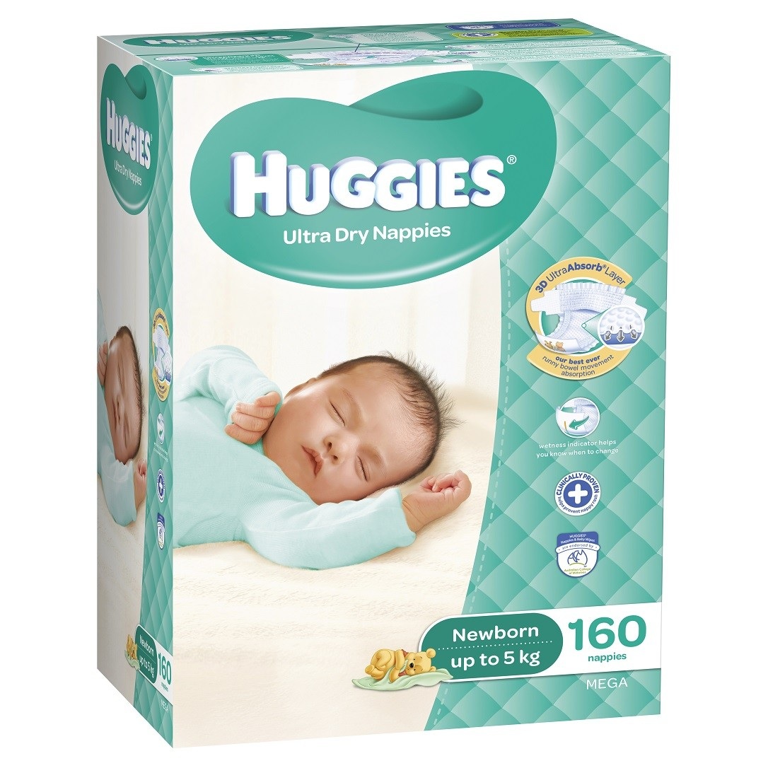 HUGGIES® Nappies Newborn up to 5kg 160pk MEGA