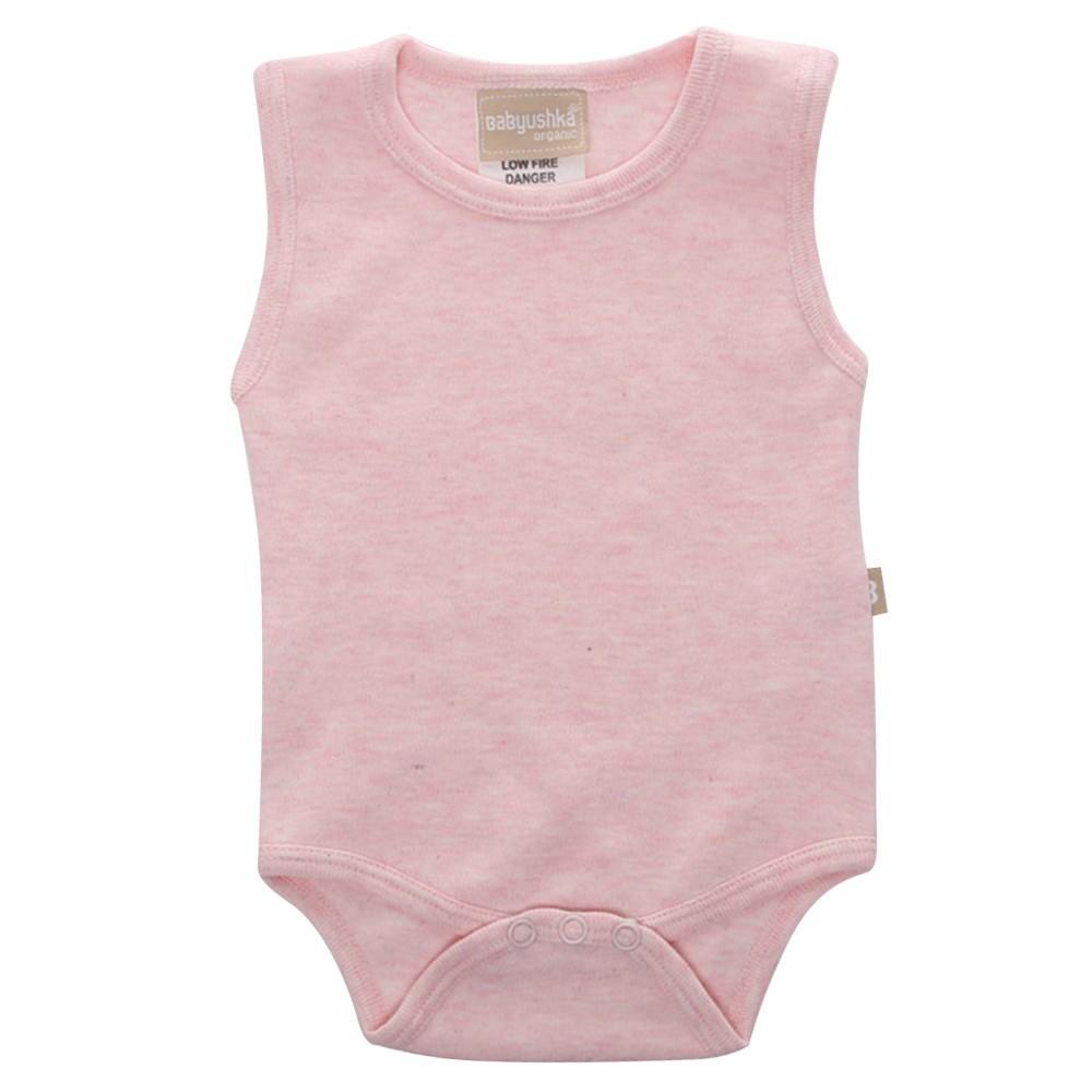 Babyushka Organic Essentials Sleeveless Vest Onesie in Pink Marle