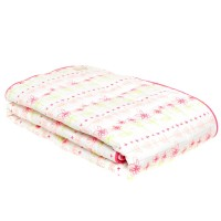 Organic Reverse Print Cot Quilt w/Drawstring Bag in Floral Print