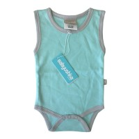 Bamboo Essentials Sleeveless Vest Onesie in Teal w/Grey Trim