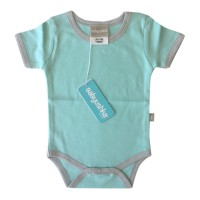 Bamboo Essentials Short Sleeve Onesie in Teal w/Grey Trim