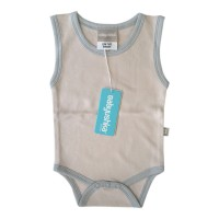 Bamboo Essentials Sleeveless Vest Onesie in Sand w/Grey Trim