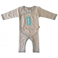 Bamboo Essentials Kimono Jumpsuit in Sand w/Grey Trim