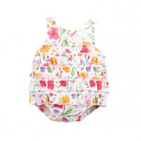 Bebe by Minihaha Violet Woven Romper w Frills