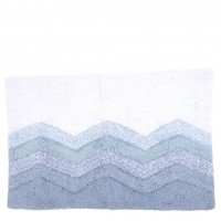 Cotton Tufted Bath Mat in Sky Combo