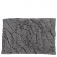 Cotton Tufted Bath Mat in Steel Ripple
