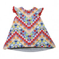 Fox & Finch Kenya Print Dress w Jersey Back