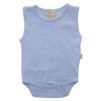 Babyushka Organic Essentials Sleeveless Vest Onesie in Blue Marle