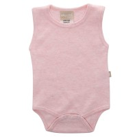 Babyushka Organic Essentials Sleeveless Vest Onesie in Pink Marle