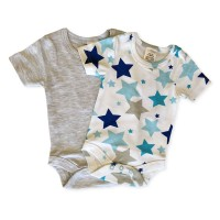 Short Sleeve Onesie Set in Grey Star