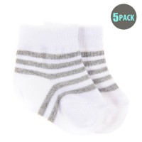 5pk Snugzeez Grey Striped Socks