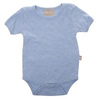 Babyushka Organic Essentials Short Sleeve Onesie in Blue Marle