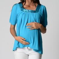 Silk Trim Drape Top - Turquoise