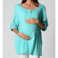 Raw Edge Tunic - Aqua