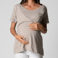 Relaxed Wrap Top - Light Grey