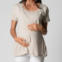 Relaxed Wrap Top - Grey Stripe