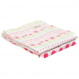 Organic 3-Piece Cot Sheet Set w/Drawstring Bag in Floral Print
