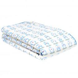 Organic Reverse Print Cot Quilt w/Drawstring Bag in Penguin Print