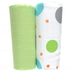 Organic 2-Pack Muslin Wrap Set in Polka Print