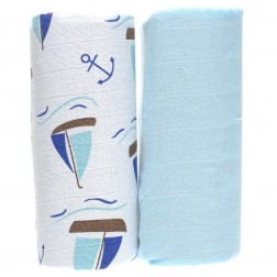 Organic 2-Pack Muslin Wrap Set in Ocean Print