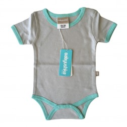 Bamboo Essentials Short Sleeve Onesie in Grey w/Teal Trim
