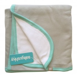 Bamboo Essentials Double-Sided Blanket in Grey w/Teal Trim