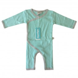 Bamboo Essentials Kimono Jumpsuit in Teal w/Grey Trim