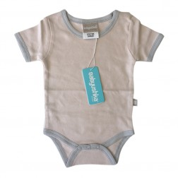 Bamboo Essentials Short Sleeve Onesie in Sand w/Grey Trim
