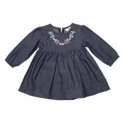 Macy Chambray Quilted Yoke Dress