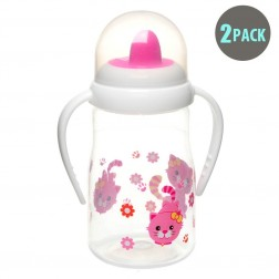 2pk Hard Spout Pink Kitty Spill-Proof Sippy Cup with Handle
