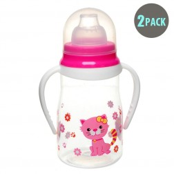 2pk Soft Spout Pink Kitty Non-Spill Sippy Cup With Handle