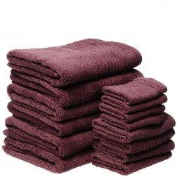 14 Piece Luxury 600GSM Towel Set in Aubergine