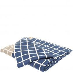 Cotton Knitted Throw Blanket in Grid
