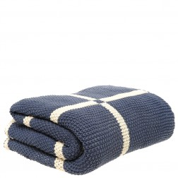 Chunky Knitted Throw Blanket in Navy