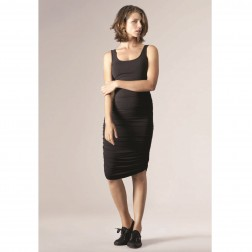 Ruched Tank Maternity Dress in Caviar Black
