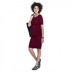 Ruched T-Shirt Maternity Dress in Plum