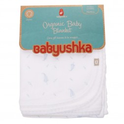 Babyushka Organic Essentials Double-Sided Blanket in Blue Leaf Print