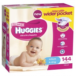 HUGGIES® Nappies Infant 4-8kg Girl 144pk MEGA