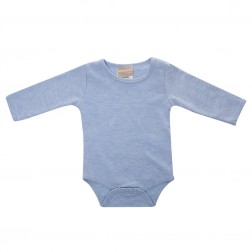 Babyushka Organic Essentials Long Sleeve Onesie in Blue Marle