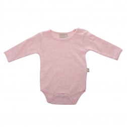 Babyushka Organic Essentials Long Sleeve Onesie in Pink Marle