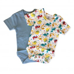 Short Sleeve Onesie Set in Blue Dino