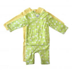 Kimono Jumpsuit Set in Green Hearts