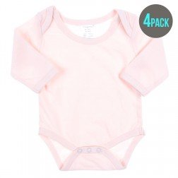 4 Pack Essentials Long Sleeve Bodysuit in Pink