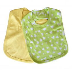 Feeding Bib Set in Green Hearts