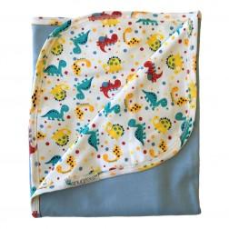 Reversible Hooded Blanket in Blue Dino