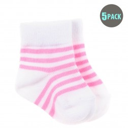 5pk Snugzeez Pink Striped Socks