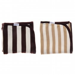 Double-Layered Striped Blanket Set - Brown/Beige