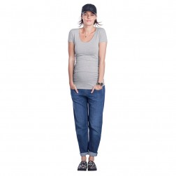 The Maternity Cap Scoop Top in Heather Grey